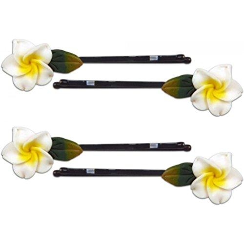Fimo Hair Flower Mini Bobby Pin Set of 4 Plumeria White & ()