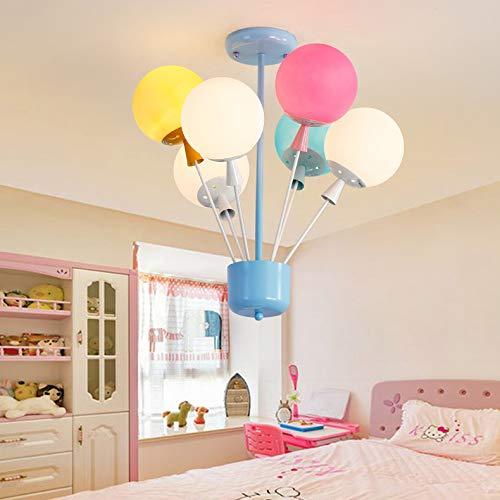 Modern Children's lamp Pendant Light, JIANGXIN Chandelier Colorful Balloon Glass Pendant Lamp Ceiling Light E27 110V Creative Light for Children's Room Bedroom Boys and Girls Living Room (6 Lights) -