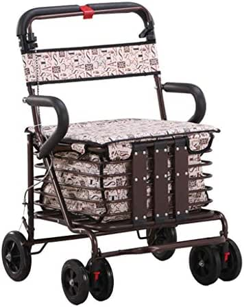 Shopping Trolleys Shopping Cart Old Man Trolley Walker Increase The Seat to Buy Food Truck Household Folding Wheelchair Portable Scooter Gift Can Bear 150 Kg (Color : Brown, Size : 50 46 87-92cm)