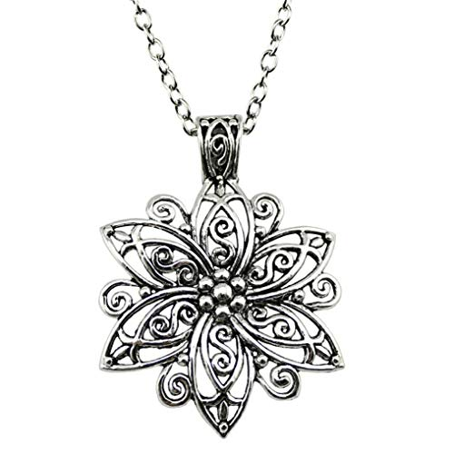 Myhouse Ancient Silver Retro Palace Hollow Flower Necklace Ladies Necklace Jewelry