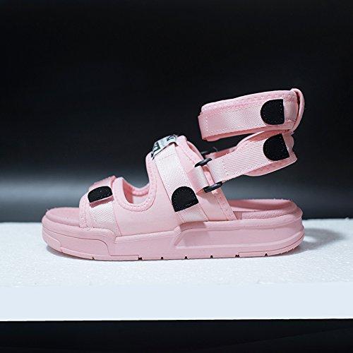 QQWWEERRTT Moda un par de Zapatos Usados por Sandalias Femeninas Nuevo Verano Estudiante Plana Universal Deporte Vintage Rosado