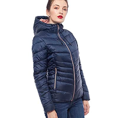 Rokka&Rolla Women's Lightweight Water Resistant Hooded Quilted Poly Padded Puffer Jacket Coat: Clothing