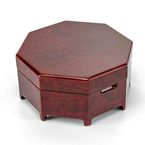 Enchanting Octagonal Zen Inspired Classic Toned Musical Jewelry Box - Over 400 Song Choices - Happy ()