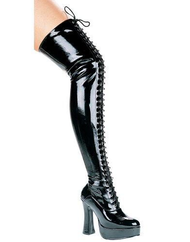 Ellie Shoes Womens 557-olivia 5 Hak Vetersluiting Stretch Dij Hoge Laars Zwart