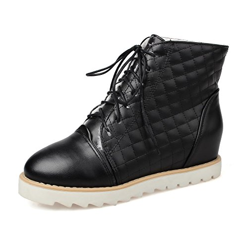 AllhqFashion Womens Soft Material Closed Round Toe Solid Low-top High-Heels Boots Black kV828r