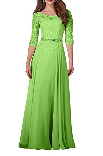 Partykleider Damen Abendkleider A Spitze Grün Langarm Charmant linie Brautjungfernkleider Lang Hochwertig YdqUxH