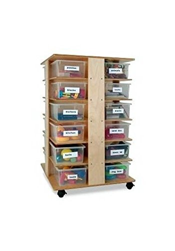 24 Tray Preschool Cubby Tower Art Storage in Maple Finish by Whitney Brothers