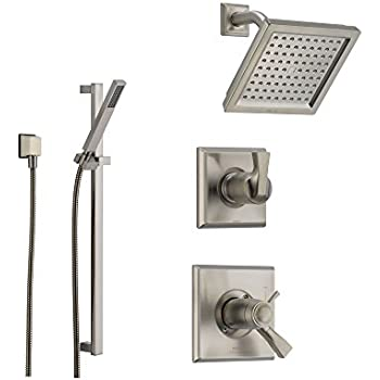 Delta Dryden Stainless Steel Shower System With Thermostatic Shower Handle,  3 Setting Diverter, Modern Square Showerhead, And Handheld Shower  SS17T5185SS