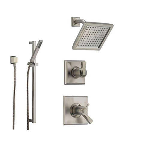 Delta Dryden Stainless Steel Shower System with Thermostatic Shower Handle, 3-setting Diverter, Modern Square Showerhead, and Handheld Shower SS17T5185SS Delta Faucets