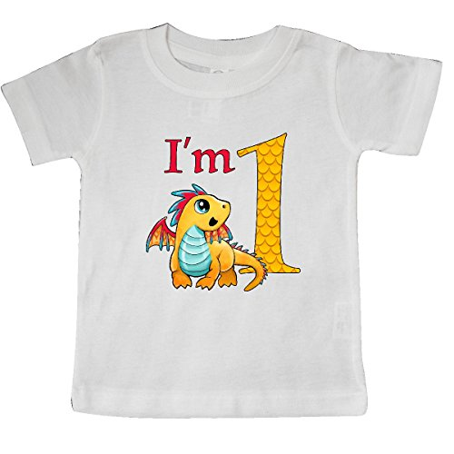 inktastic Gold and Red Baby Dragon First Birthday Baby T-Shirt 12 Months (White Gold Dragon Shirt)