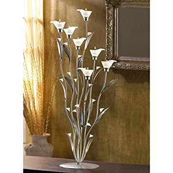 (Zingz & Thingz Table Top Silver Calla Lily Tea Light Candle Holder)