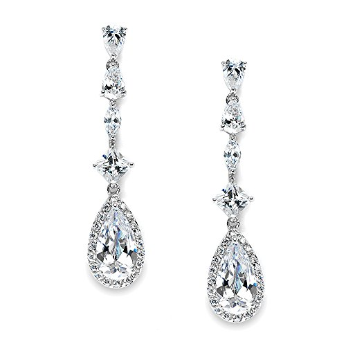 (Mariell Linear Pear Shaped Teardrop CZ Bridal Dangle Earrings for Wedding, Prom or)