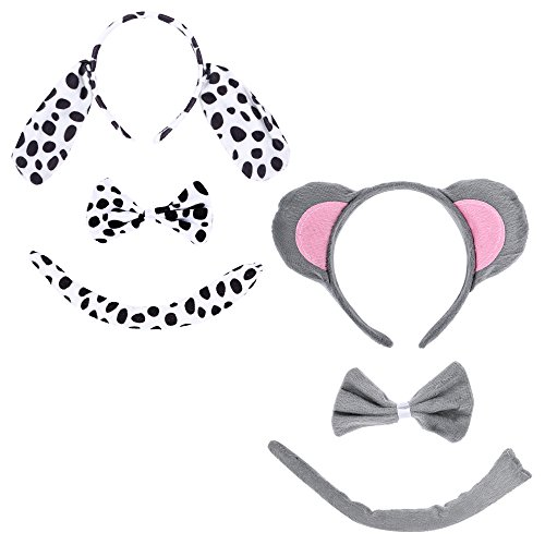 Christmas Headband Mouse Dalmatian Ears and Tail Set Kids Halloween Costume Kit -