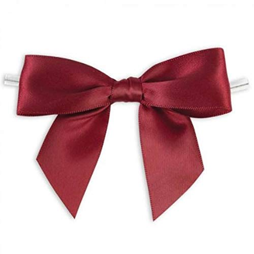 Weststone 50pcs Satin Burgundy Bows 3 1/2