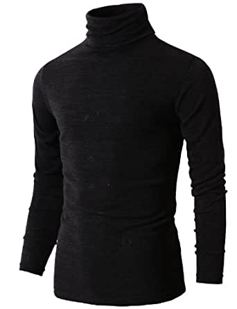 H2H Mens Casual Basic Slim Fit Pullover Thermal Sweaters Black US XS/Asia M (KMTTL028)