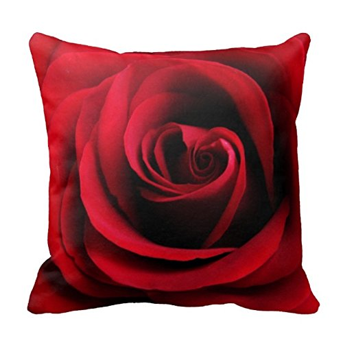 (Elegant Pretty Red Rose Design Floral Pattern Decorative Throw Pillow Cover Cushion Case Home Square 18 X 18 Inches Two Sides)