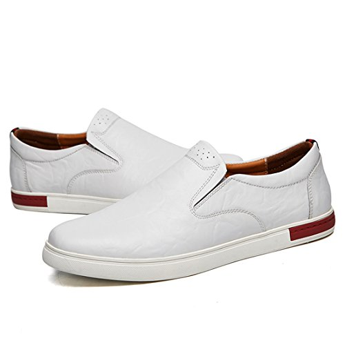 Minitoo Boys Mens Retro Slip-On Stitched Casual Loafers White