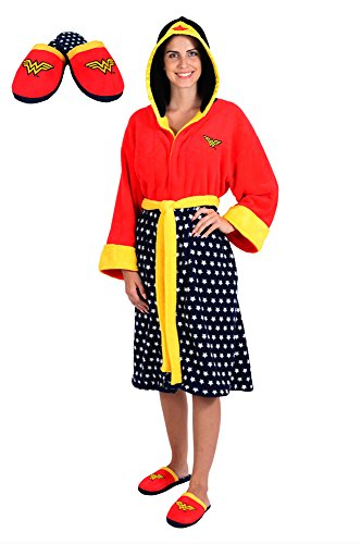 (DC Comics Wonder Woman Stars Hooded Cosplay Fleece Robe and Slipper Set (OSFM))