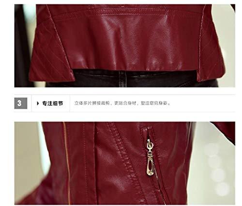 Women's Jacket Red Front Fall Mogogo Slim College Zip Fit Coat Trench Wine Winter EqRdwwa