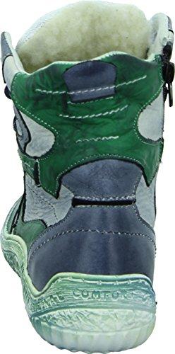 Kristofer G2050 Damenschuh Stiefelette Winterboots Schnürschuh Reißverschluss Wasserabweisend Patch-Style Farbe: Grün/ Grau