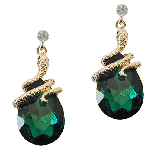 Navachi 18k Gold Plated Crystal Green Zircon Snake Drop Dangle Earrings (Ring Amphibious)