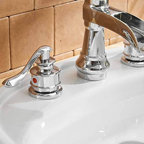 BWE Waterfall 8-16 Inch 3 Holes Two Handle Widespread Bathroom Sink Faucet Chrome by BWE (Image #7)