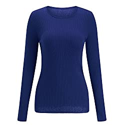 Sseary Women Crewneck Basic Lightweight Cozy Cashmere Knit Pullover Sweater Deep Blue L