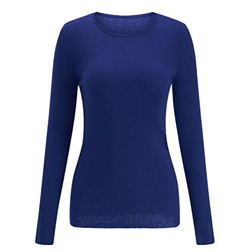 SSeary Women Crewneck Basic Lightweight Cozy Cashmere Knit Pullover Sweater(Deep Blue,L)