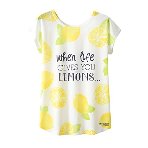 Botrong Womens Tops, Lemon Letter Print Short Sleeve Loose T-Shirt O Neck Blouse -