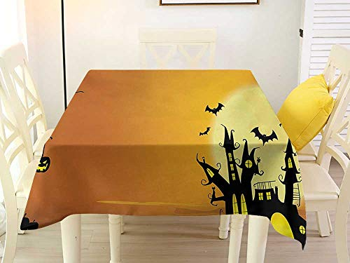 L'sWOW Square Tablecloth Western Halloween Gothic Haunted House Bats Western Spooky Night Scene with Pumpkin Drawing Art Orange Black Chairs 54 x 54 -