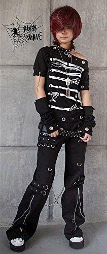 Punk Rave-Pantalón con cierres y cadenas K-028 negro