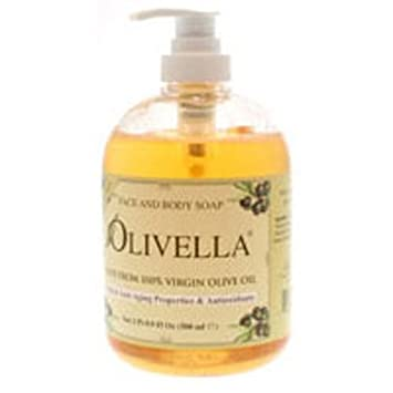 Olivella Virgin Olive Oil Face and Body Liquid Soap 10.14 oz Pack of 3