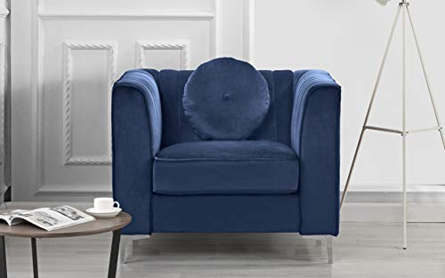 Classic and Traditional Living Room Marilyn Velvet Armchair, Club Chair with Tufted Accent Pillows (Blue)