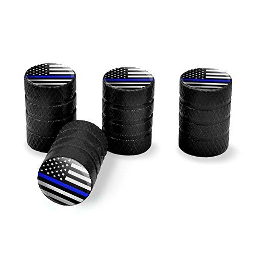Thin Blue Line American Flag Tire Rim Wheel Aluminum Valve Stem Caps - (Black Aluminum Rims)