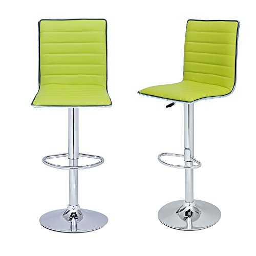 Joveco Hydraulic Lift Adjustable Barstool with Leather Look, Horizontal Channel Tufting Chrome Accents, Pedestal Base (Set of Two) (Lemon Green)