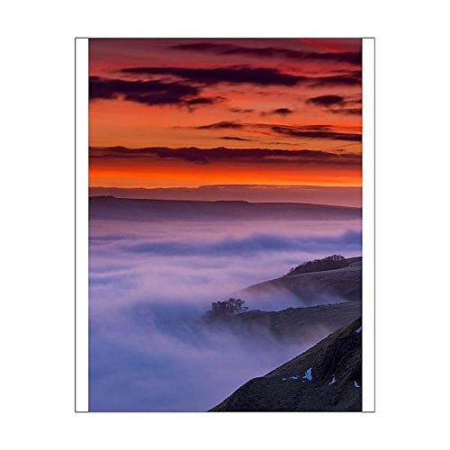 10x8 Print of Red Dawn over Peveril Castle in the English Peak District. UK ()