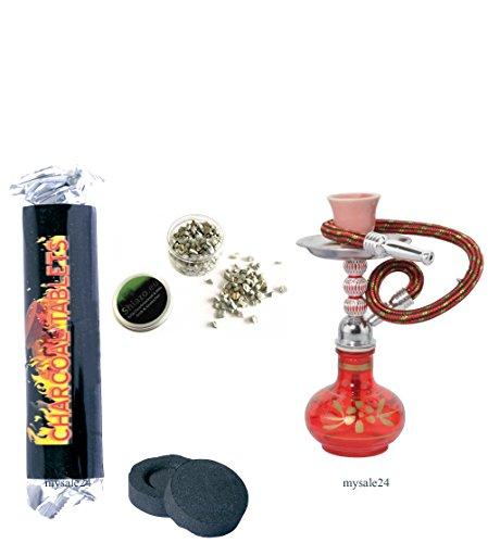 Mysale24 Mini Shisha Wasserpfeife to go togo Perfekt für Reisen und Unterwegs ca. 17,5 cm hoch verschiedene Farben inkl. Zubehör Kohle + Dampfsteine ohne Nicotin (Rot)