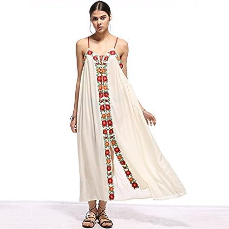 SONGQINGCHENG Boho Vestido Largo De Algodón Bordado Floral Blanco Vestidos De Verano Las Mujeres Visten,Blanca,L: Amazon.es: Deportes y aire libre