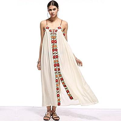 cb656d59606 SONGQINGCHENG Boho Vestido Largo De Algodón Bordado Floral Blanco Vestidos  De Verano Las Mujeres Visten