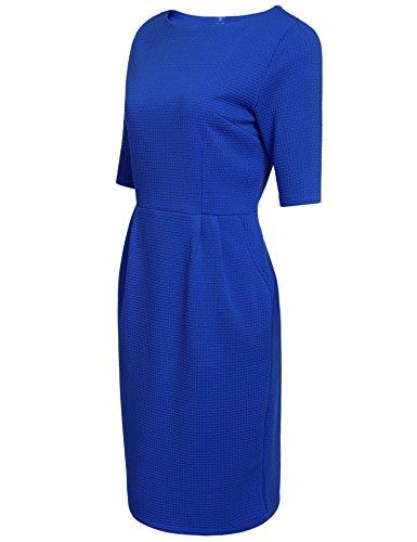 Angvns Femmes Manches Casual Demi Col Rond Mince Ajustement Robe Bureau Crayon Bleu Business
