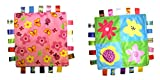Little Taggie Like Theme Baby Sensory, Security & Teething Closed Ribbon Style Colors Security Comforting Teether Blanket - Pink Flowers & Spring Bloom 2-Pack w/Gift Box