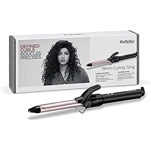 BaByliss C319E Tenacilla de pelo de 19 mm, 10 ajustes de temperatura, moldeador de pelo, cable profesional giratorio, recubrimiento Sublim Touch con punta fría de agarre