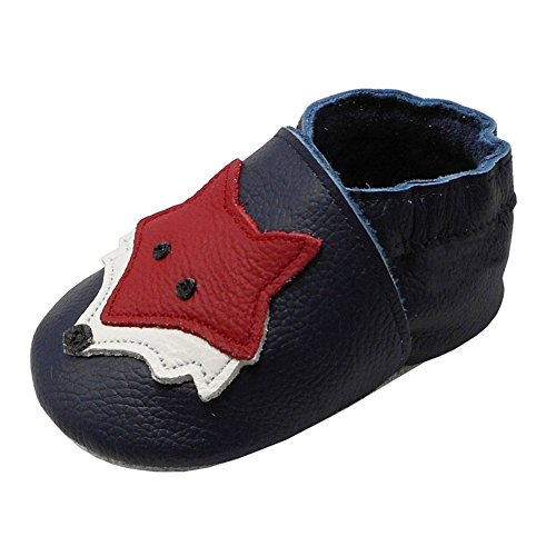 YIHAKIDS Soft Sole Baby Shoes Toddler Leather Moccasins Cartoon Fox Baby Boy Girl Slippers (7-7.5 US/12-18 MO./5.5in, Navy Blue)