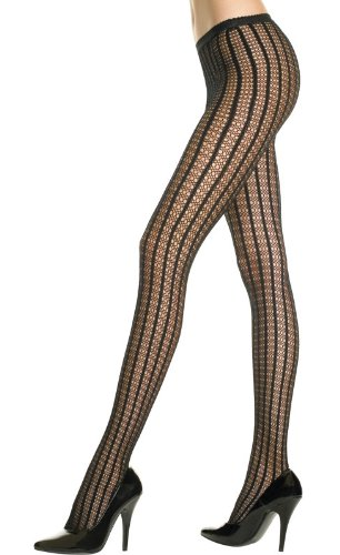 MUSIC LEGS 9003 Seamless crochet pantyhose with striped design
