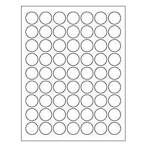 amazoncom 6 sheets 378 1 inch round circle white stickers for inkjet laser printers size 8 12x11 standard sheets labels office products - 1 Inch Circle Template