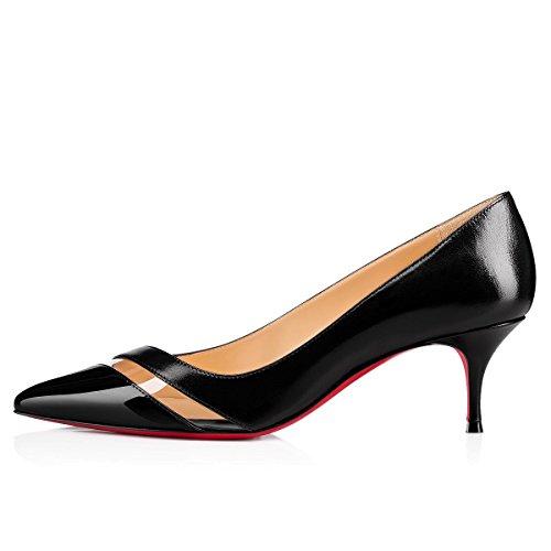 Chaussures de Cuir Talon Robe Fête Bout Bblack Semelle Rouge Femmes Travail Pointu Verni Pan Chaton 65MM Escarpins Caitlin qz6001