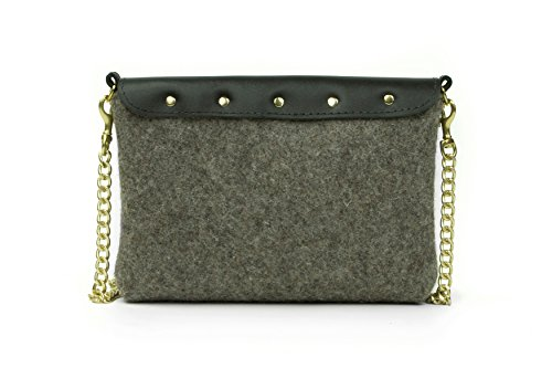 Grey Crossbody leather Black Bag Wool Grey rg17wrq