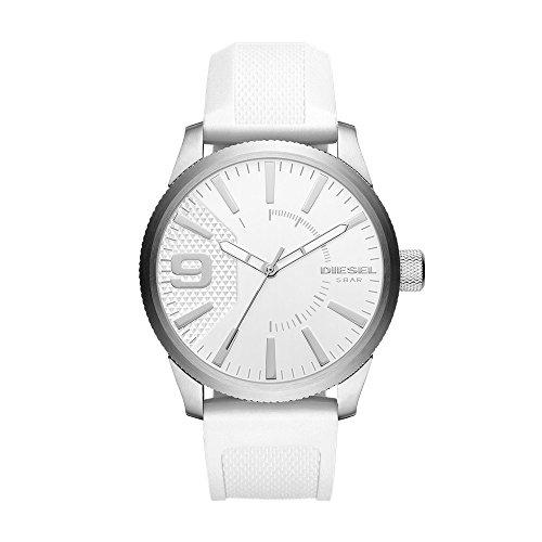 (Diesel Men's DZ1805 Rasp Stainless Steel White Silicone Watch)