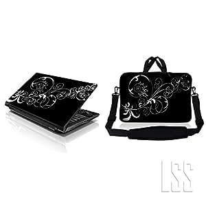 "'LSS portátil & macbook pro Sleeve Bag Carrying Case w/Hidden Handle & Matching Skin Sticker apto para 8""9"" 10.2Vines Black And White Swirl Floral"