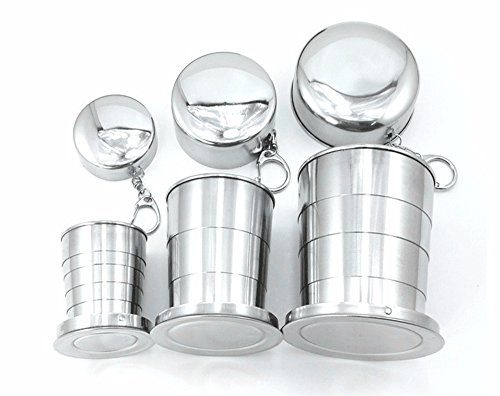 Telescopic Collapsible Mug FUNJIA Stainless steel Camping Hiking Cup Set - Silver - Different size For 3 Pack - Perfect Gift Box - Polishing Finish, (2oz, 5oz, 8oz)